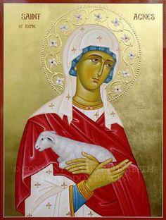 Saint Agnes of Rome Catholic News, Catholic Saints, Roman Catholic, Religious Icons, Religious Art, Santa Ines, St Agnes, Byzantine Icons, Angels Among Us