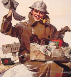 Norman Rockwell - They Remembered Me, 1917 - WW1 Soldier receiving package in France