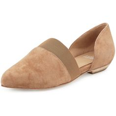 Eileen Fisher Flute Pointed-Toe d'Orsay Flat ($210) ❤ liked on Polyvore featuring shoes, flats, sienna, pointed toe flats, flat shoes, flat pumps, slip-on shoes and leather pointy toe flats