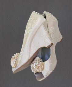 Custom Wedding Shoes  Dark Ivory Peep Toe by DesignYourPedestal, $295.00