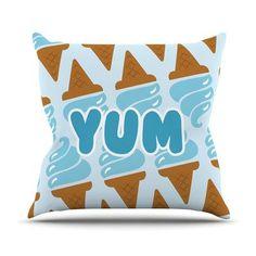 """East Urban Home Yum! Throw Pillow Size: 26"""" H x 26"""" W x 4"""" D"""