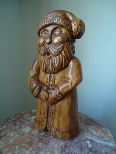 Hand carved Santa Wooden Santa Claus Wood by OsborneArtwork