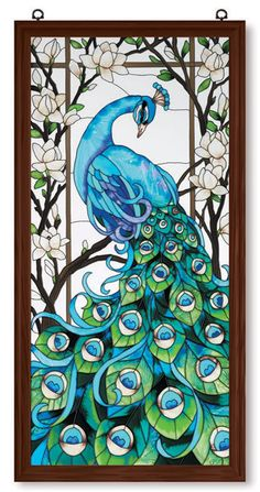 peacock stained glass, very pretty
