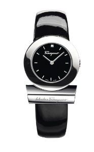 Salvatore Ferragamo Women's S009 Gancino Black Patent Band Logo Watch $1250,00 #luxurywatchclub #ferragamo