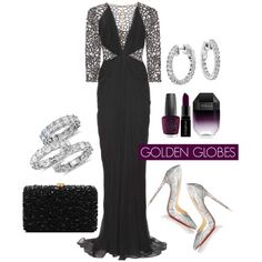 Golden Globes 2016 by Blue Nile on Polyvore featuring Zuhair Murad, Christian Louboutin, Elie Saab, Blue Nile, Smashbox, STELLA McCARTNEY, OPI, RedCarpet, GoldenGlobes and diamonds