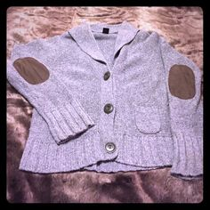 Gap Knit Sweater/Cardigan with Suede Elbow Patches Super cute GAP knit sweater/cardigan with brown suede elbow patches.  Fits like a size large. GAP Sweaters Cardigans