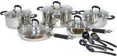 American Trading House Gourmet Chef 15 Piece Stainless Steel Cookware Set, Black