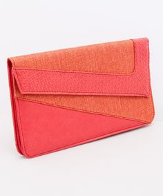 color-block clutch | Coral Color Block Clutch