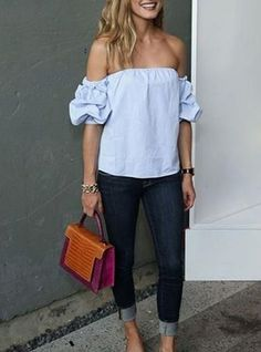 Women's Off Shoulder Casual Blouse - Puffed Sleeves