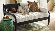 """Maldives Day Lounger, all-weather hardwood and weather-resistant cushion. Cushion: 57""""W x 30-3/4""""D. (Grandin Road)"""