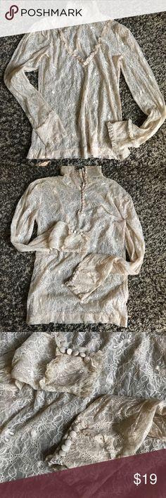 H&M lace blouse SZ M Beautiful cream lace Blouse mint condition SZ M H&M Tops Blouses