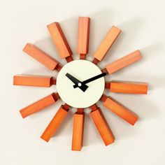 I have a thing for orange and for Mid-Century. This looks great! Sunset Block Clock | dotandbo.com