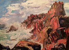 """Castle Rock, Bailey Island,"" Milena Banks, oil, 36 x 38"", Portland Art Galley."