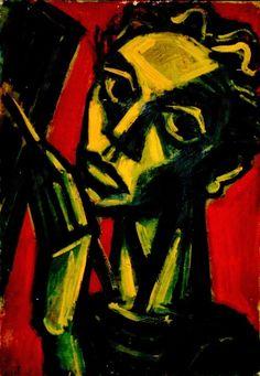 Carl Rabus Selbstbildnis, 1944, Öl auf Leinwand