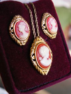 Vintage Trifari Cameo Necklace and Pierced by dazzledbyvintage