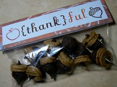 """Cute way to package the adorable """"acorns"""" that are all around.  Great for teacher gifts for Thanksgiving!"""