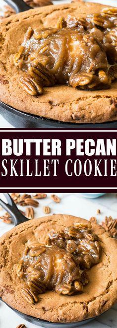 Butter Pecan Skillet Cookie