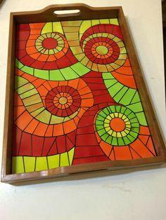 Mosaic Tray, Mosaic Pots, Mosaic Glass, Mosaic Tiles, Mosaics, Mosaic Crafts, Mosaic Projects, Mosaic Designs, Mosaic Patterns