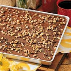 Chocolate Sheet Cake. I could eat this entire cake. A favorite.