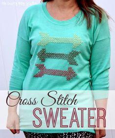 Cross Stitch, Cross Stitching, DIY, Handmade, Arrows, Sweater,