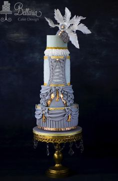 """Wedding cake inspired by """"Barbie"""" fashion collaboration by Bellaria Cake Design  - http://cakesdecor.com/cakes/281908-wedding-cake-inspired-by-barbie-fashion-collaboration"""