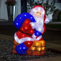 Flerfarget utendørs LED-dekorlampe Julenisse