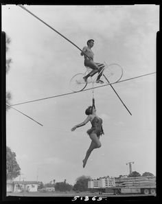 Untitled (woman hanging by head from bicycleof trapeze artist) | Harvard Art Museums