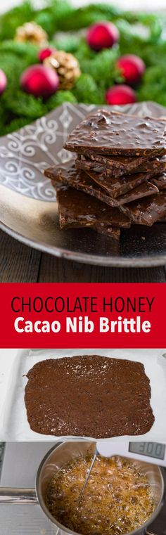 Dangerously addictive cacao nib brittle has crunchy bits of cacao beans in a crisp buttery chocolate brittle. Delicious Chocolate, Chocolate Desserts, Chocolates, Sweet Desserts, Dessert Recipes, Cacao Powder Benefits, Cacao Recipes, Brittle Recipes, Cocoa Nibs