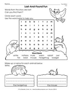 Reinforce story vocabulary from Jan Brett's The Mitten with this literacy worksheet. A freebie from TheMailbox!