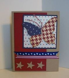 Patriotic Butterfly - Cards and Paper Crafts at Splitcoaststampers American Card, Military Cards, Tarjetas Pop Up, Patriotic Crafts, July Crafts, Scrapbook Cards, Scrapbooking Ideas, Butterfly Cards, Pretty Cards