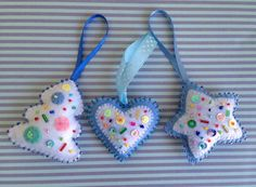 Set of 3 beautiful felt Christmas ornaments - a Christmas tree, a heart and a star. These felt ornaments are hand embroidered and hand stitched. They