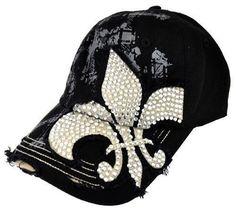 be392ada0a5a9 New Rhinestone Fleur De Lis Bling Ballcap Womans Hat Cap Cadet Black
