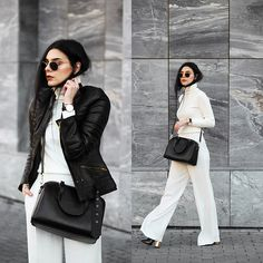 Holynights Claudia - Romwe Turtleneck Sweater, Leather Skin Jacket With Gold Details, Zara Pants, Ego Boots, Vipme Bag, Vipme Bag, Daniel Wellington Watch + Cuff - White winter