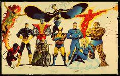 convention sketch fantastic four x men, in javi solanes colorist's color Comic Art Gallery Room Comic Book Artists, Comic Book Characters, Comic Artist, Marvel Characters, Comic Character, Comic Books Art, Character Design, Marvel Comics, Marvel Heroes