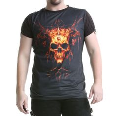 #Camiseta para #Hombre #Calavera #Tachuela #Crazyinlove