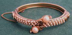 Vintage Florenza Pearl Hinged Bracelet by VintageJewelsAndMore, $58.00