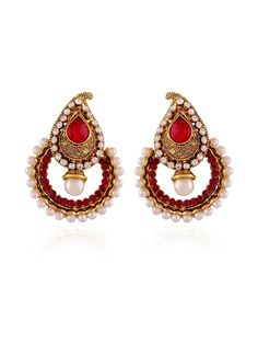 Effective gold plated brass metal #Earrings with #Stones, #Pearls work is looking awesome. Item Code: JRUM543 http://www.bharatplaza.com/jewellery/earrings.html