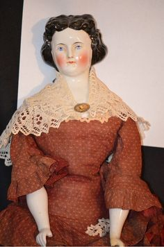 Antique China Head Doll Rare Fancy Hair Style Beautiful