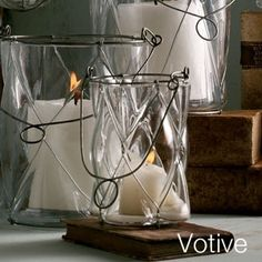 Leaded glass and wire candle holders