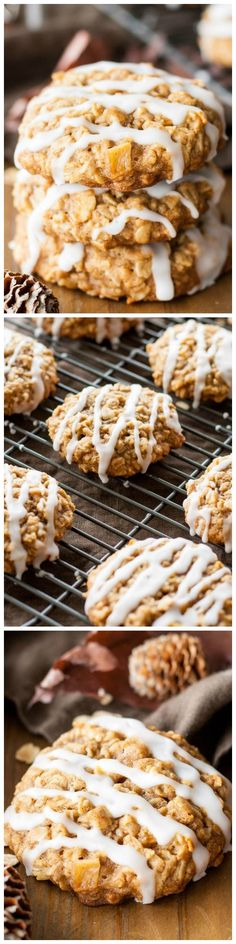 An Apple Crisp in cookie form! These Caramelized Apple Oatmeal Cookies are chewy, delicious, and packed with apple cinnamon flavor! Fall Dessert Recipes, Easy Cookie Recipes, Baking Recipes, Fall Recipes, Yummy Cookies, Yummy Treats, Sweet Treats, Yummy Food, Fancy Desserts