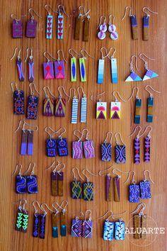 - Caluarte: Hand-painted wooden earrings More - Polymer Clay Crafts, Polymer Clay Creations, Polymer Clay Earrings, Paper Jewelry, Fabric Jewelry, Jewelry Crafts, Terracotta Earrings, Wooden Earrings, Fabric Earrings
