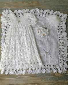 """Blessed Christening Set Crochet Pattern ~ this is truly an amazing set ~ intermediate level ~ afghan 31"""" square, gown, booties & bonnet ~ newborn size ~ adapted antique stitch patterns ~ start creating this beautiful set today for that special heirloom piece ~ CROCHET"""