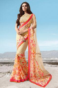 #Designer #PartyWear #jacquard And #Georgette Fabric #saree In #Cream Color