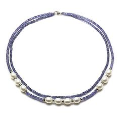 Sterling Silver 8-8.5mm White Freshwater Cultured Pearl 3mm Simulated Tanzanite 2-rows Necklace, 18' * For more information, visit image link.