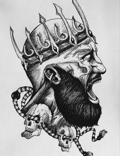 Cool Tattoo Drawings, Tattoo Sketches, Art Sketches, Art Drawings, Girl Thigh Tattoos, Body Art Tattoos, Small Tattoos, Headdress Tattoo, Crown Tattoo Design