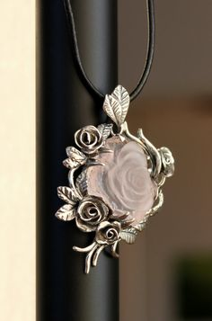 Pendant Rose 1 with hand-carved pink quartz cameo by DetelinaCameo