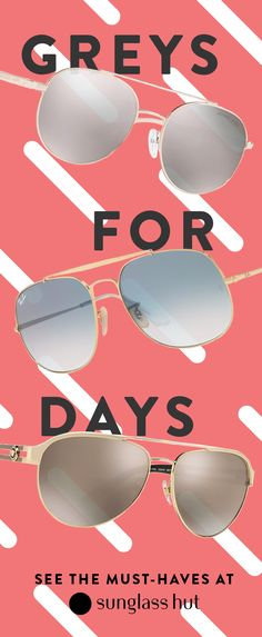 The only thing subtle about your summer look should be the grey in your shades. Go for sleek and sunkissed with Michael Kors aviators, make a statement in a pair of Ray-ban General shades or feel powerfully cool in Versace double bridge sunglasses.