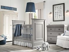 boy nursery themes | Gray blue boys nursery design