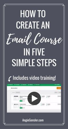 How to create an email course in 5 simple steps. Includes free video training on how to use MailerLite to create your course for free. via @angiegensler