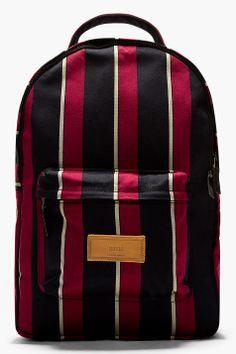 AMI Burgundy Striped Twill Padded Backpack